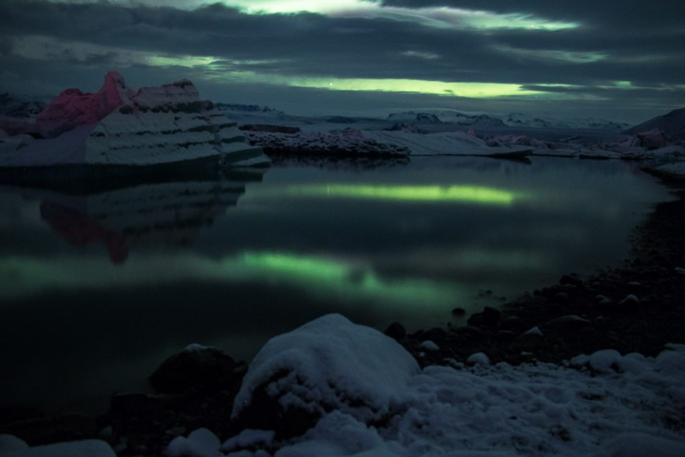 7579 Aurora borealis over Jökulsárlón glacier lagoon, Iceland