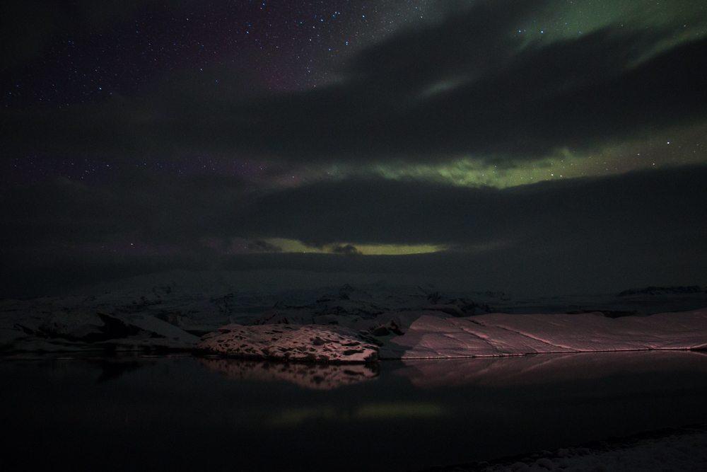 7601 Aurora borealis over Jökulsárlón glacier lagoon, Iceland