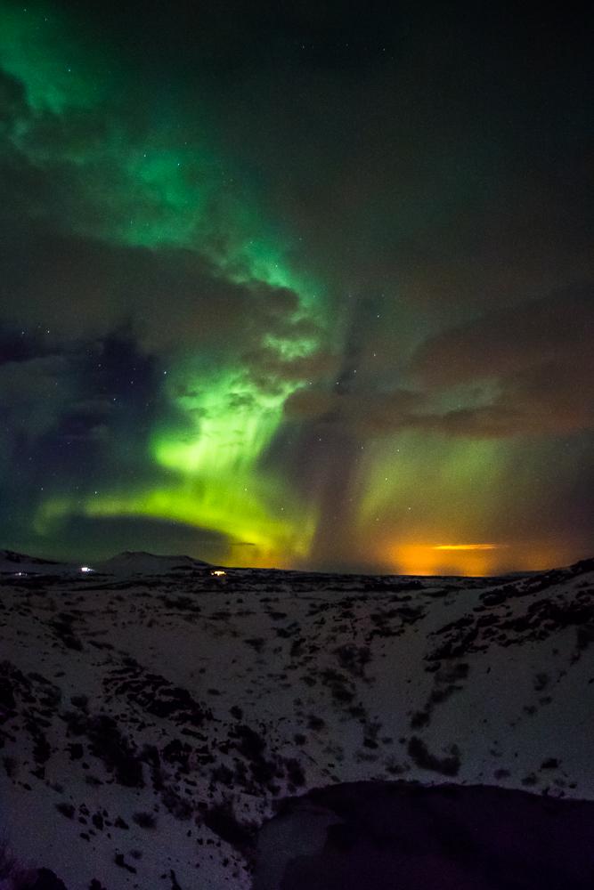 Aurora Borealis, Kerið, Iceland