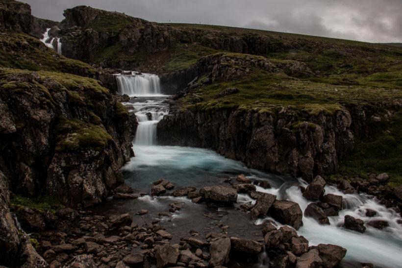 Misty water in the Valley of waterfalls, Seyðisfjörður, Iceland