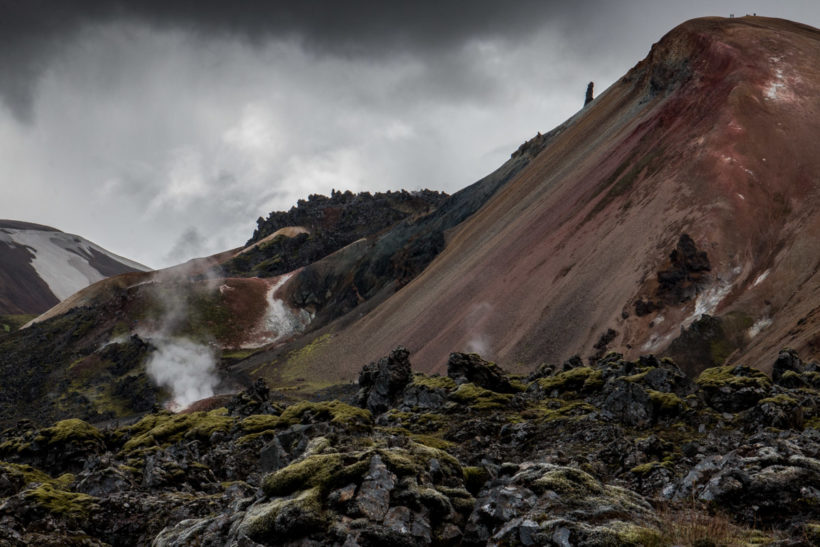Colourful landscape and steam, Volcanic landscape, Landmannalaugar, Laugavegur Trail, Iceland