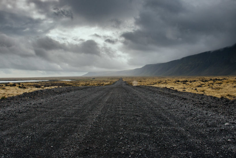Moody landscape and open road, Reykjanes Peninsula, Iceland