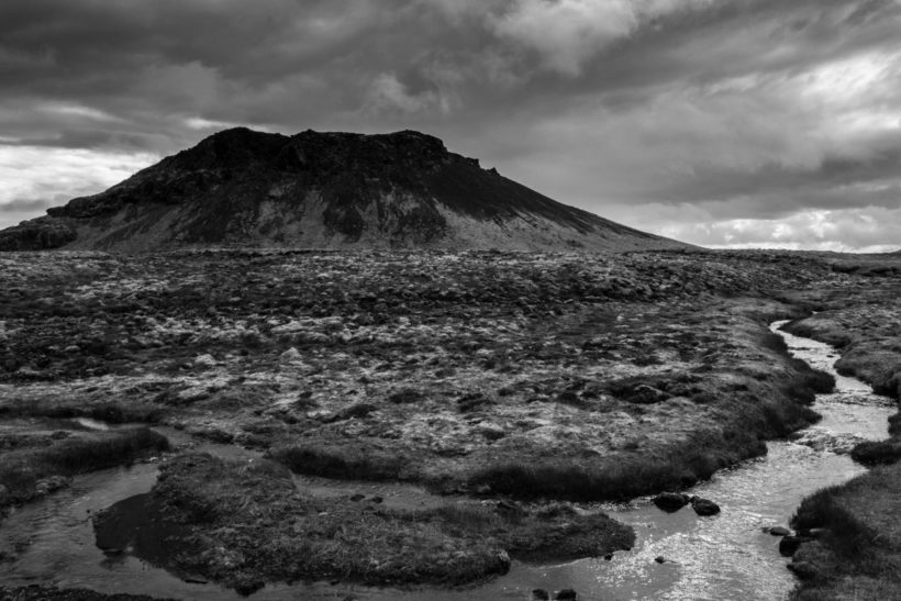 Black and white landscape. Extinct Volcano, Reykjanes Peninsula, Iceland
