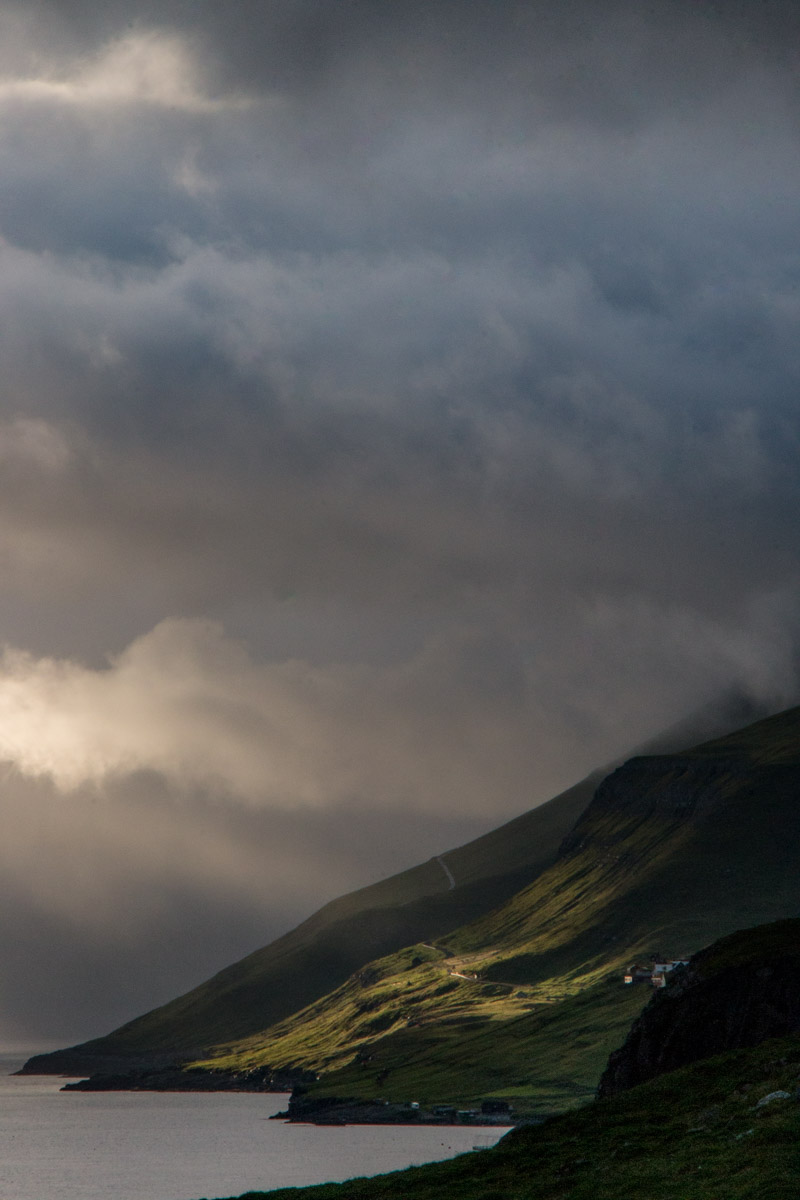 Sun streaming through the clouds, Kirkjubøur, Streymoy, Faroe Islands