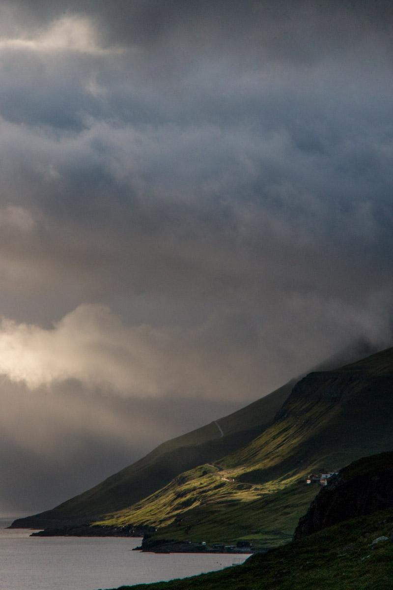 Sun streaming through the clouds, Kirkjubøur, Streymoy, Faroe Islands