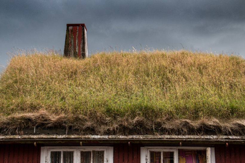 Grass-roofed house, Tórshavn, Streymoy, Faroe Islands