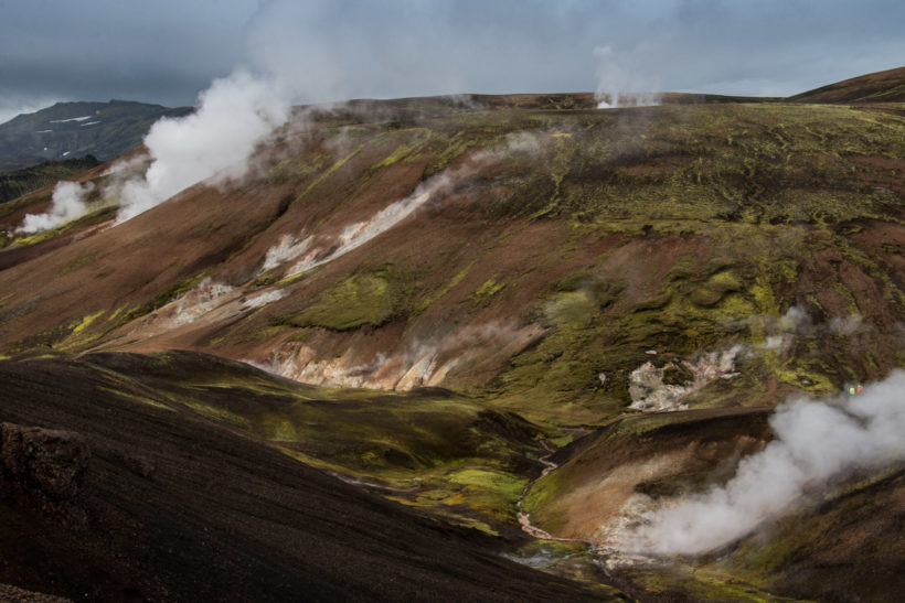 Steam vents in a multicoloured landscape. Smokey Valley, Landmannalaugar, Laugavegur Trail, Iceland
