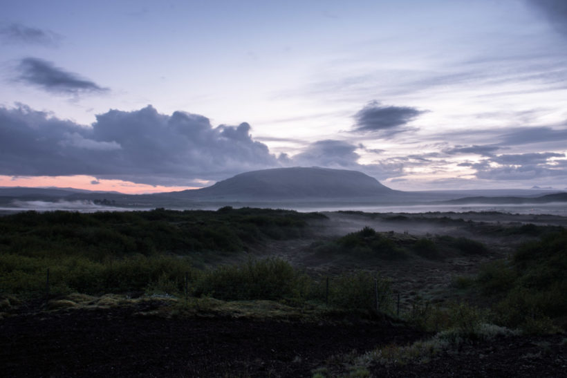 Summer solstice: Midsummer sunset and sunrise, Búrfell, Borg í Grimsnes, Golden Circle, Iceland