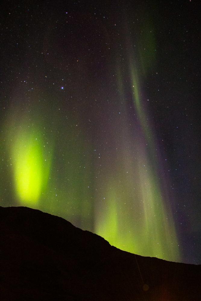 Beautiful dancing northern lights, Siglufjörður, Iceland