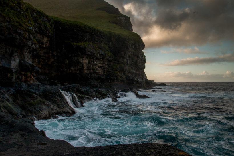 Choppy seas in the late evening on Mikladalur, Kalsoy Island, Faroe Islands