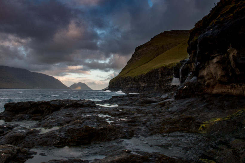 Late evening view of Kunoy and Bordoy Islands from Mikladalur, Kalsoy Island, The Faroe Islands