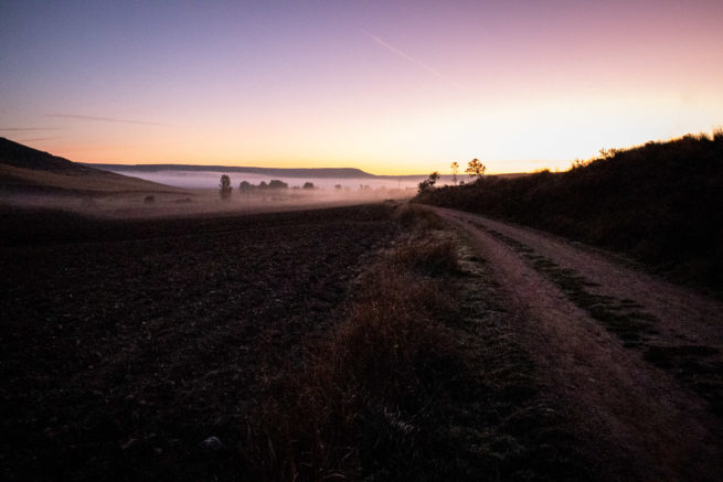 Dawn breaking outside Hornillos del Camino, Camino de Santiago (Camino Frances)