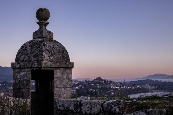 Looking back to Tui in Spain from Valença in Portugal, Camino de Santiago (Camino Portugues)
