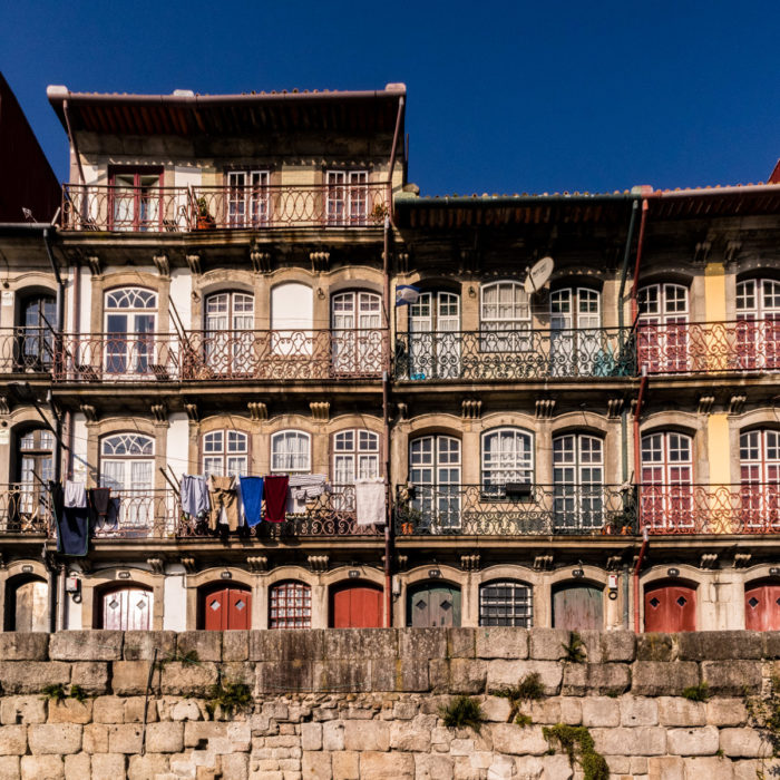 The colourful houses of Ribeira, Porto, Portugal, Camino Portugués.