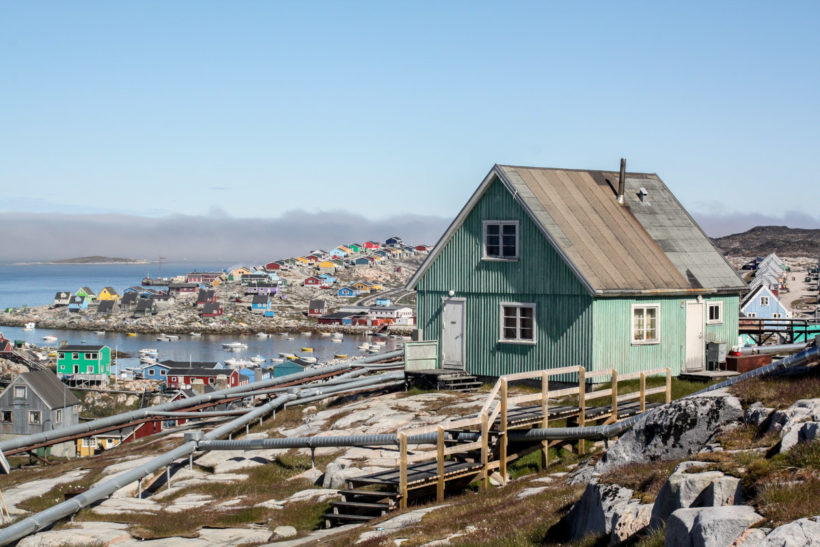 Wooden houses in a typical Greenlandic town, Aassiaat, Greenland