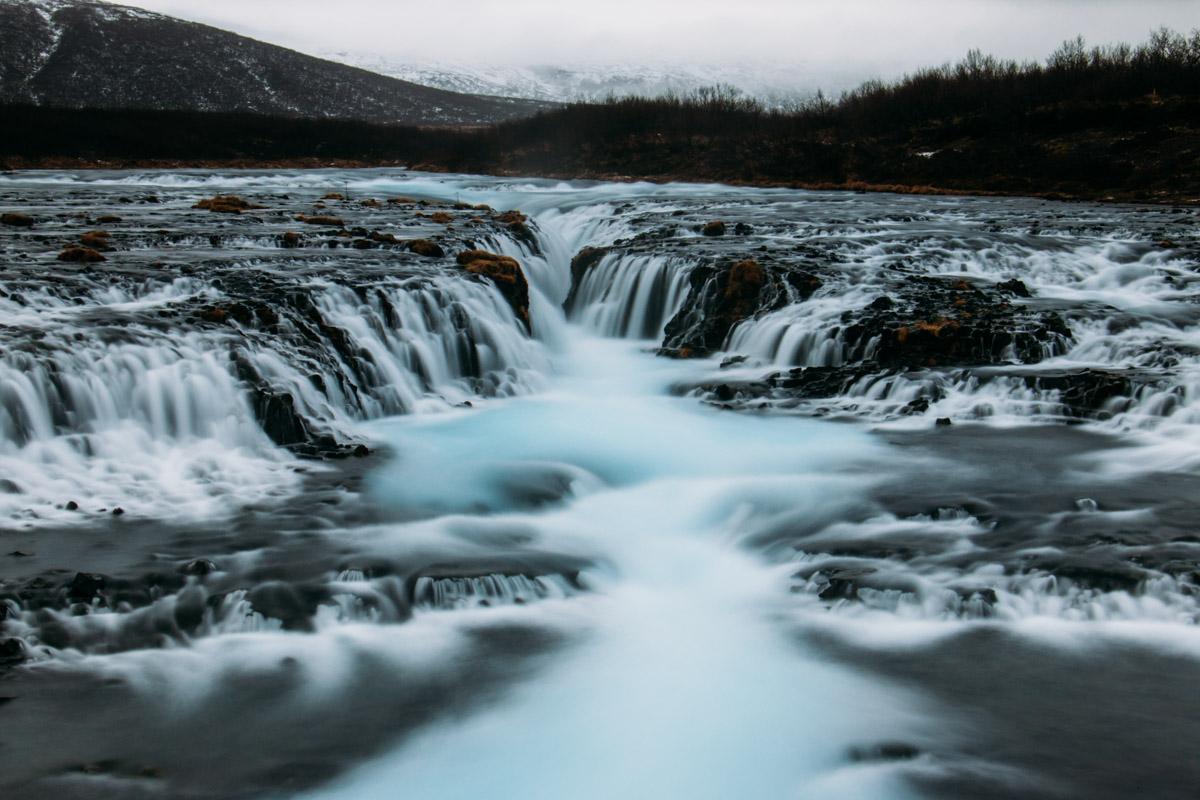 Brúarfoss, the secret blue waterfall, Golden Circle, Iceland.