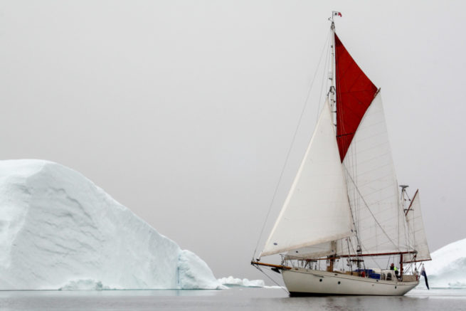Young Larry, a gaff-rigged yawl transiting the Northwest Passage, Upernaviks Isfjord, Kalaallit Nunaat / Greenland